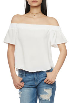 Solid Off the Shoulder Crop Top - IVORY - 1001051068917