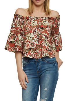 Cropped Off the Shoulder Floral Top with Bell Sleeves - 1001051069099