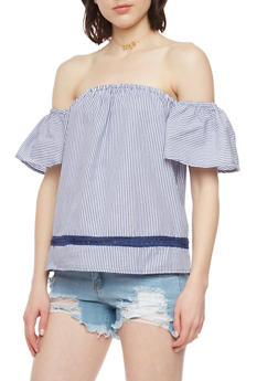 Striped Off the Shoulder Top with Crochet Detail - 1001051069193