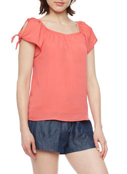 Soft Knit Short Tie Sleeve Peasant Shirt - 1001051069195