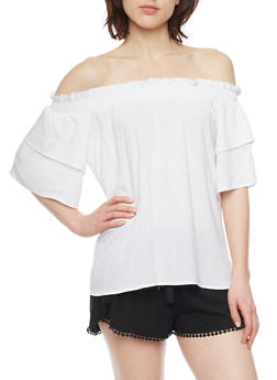 Smocked Off the Shoulder Peasant Top with Tiered Sleeves - WHITE - 1001051069200