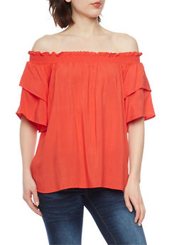 Smocked Off the Shoulder Peasant Top with Tiered Sleeves - 1001051069200
