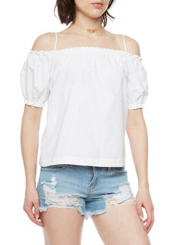 Poplin Cold Shoulder Top with Cinched Sleeves - WHITE - 1001051069203