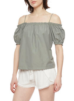 Poplin Cold Shoulder Top with Cinched Sleeves - 1001051069203