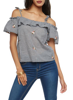 Embroidered Gingham Off the Shoulder Top - 1001051069807
