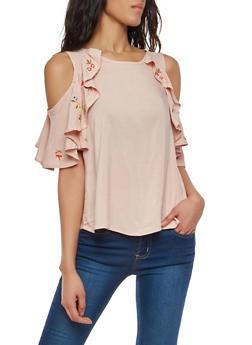 Embroidered Ruffled Cold Shoulder Top - 1001051069880