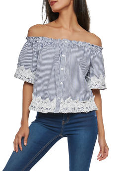 Striped Off the Shoulder Top with Crochet Trim - 1001051069914