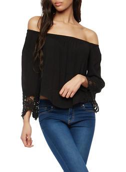 Crinkled Off the Shoulder Top with Crochet Details - 1001054268501