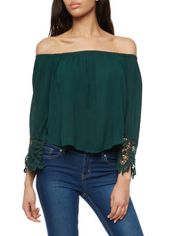 Crinkled Off the Shoulder Top with Crochet Details - 1001054268501