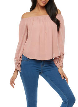 Crinkled Off the Shoulder Top with Crochet Detail - 1001054268501