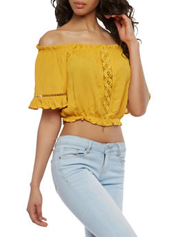Off the Shoulder Crochet Insert Crop Top - 1001054269237