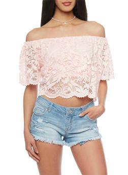 Off Shoulder Lace Crop Top - 1001054269238