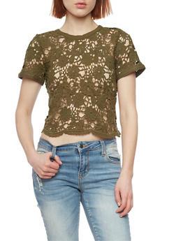 Crochet Lace Up Back Crop Top - 1001054269239