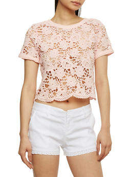 Crochet Lace Up Back Crop Top - 1001054269239