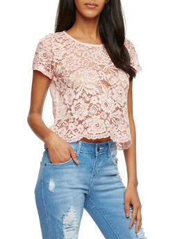 Sheer Lace Crop Top with Scalloped Hem - 1001054269342