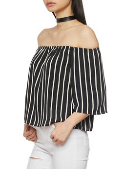 Striped Off The Shoulder Stripe Crepe Knit Top - 1001054269457