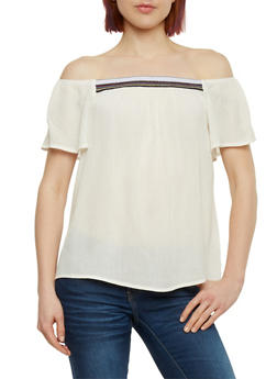 Crepe Knit Off the Shoulder Top with Embroidered Detail - OFF WHITE - 1001054269478