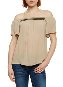 Crepe Knit Off the Shoulder Top with Embroidered Detail - 1001054269478
