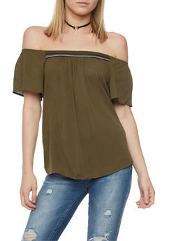 Crepe Knit Off the Shoulder Top with Embroidered Detail - OLIVE - 1001054269478