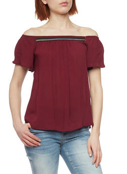 Crepe Knit Off the Shoulder Top with Embroidered Detail - BURGUNDY - 1001054269478