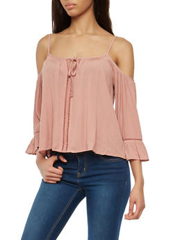 Crochet Trim Off the Shoulder Top - 1001054269765