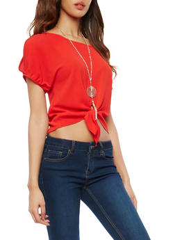 Tie Front Cold Shoulder Top with Necklace - 1001058750051