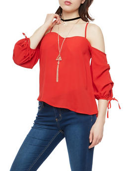 Off the Shoulder Tie Sleeve Top with Necklace - 1001058750053
