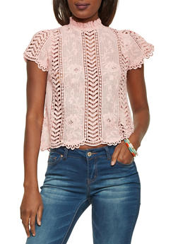 Mock Neck Crochet Top with Scalloped Hem - 1001058750111