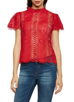 Mock Neck Crochet Top with Scalloped Hem - BURGUNDY - 1001058750111