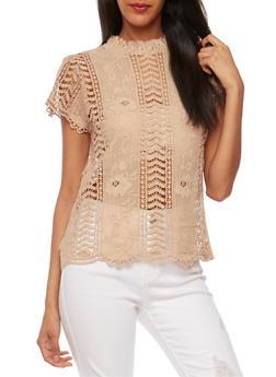 Mock Neck Crochet Top with Scalloped Hem - 1001058750111