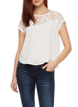 Lace Panel Top with Lace Up Back - WHITE - 1001058750152