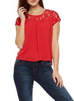 Lace Panel Top with Lace Up Back - 1001058750152