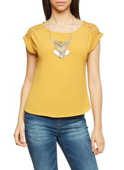 Short Sleeve Top with Crochet Panels and Necklace - MUSTARD - 1001058750153
