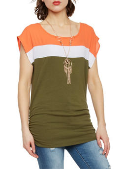 Short Sleeve ColorBlock Top with Necklace - 1001058750183