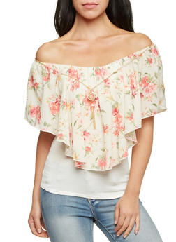 Off The Shoulder Top with Floral Panel and Necklace - 1001058750187