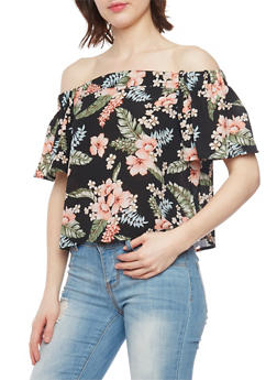 Floral Crepe Off the Shoulder Blouse with Short Sleeves - 1001058750204