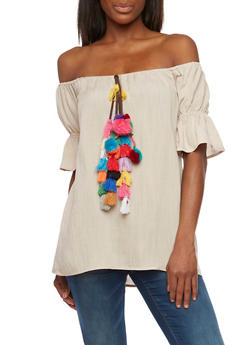Off the Shoulder Peasant Top with Pom Pom Tassels - 1001058750215