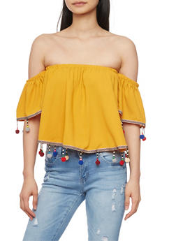 Off the Shoulder Crop Top with Beaded Pom Pom Trim - 1001058750216