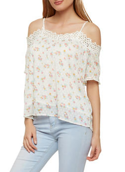 Floral Swiss Dot Off the Shoulder Top - 1001058750323