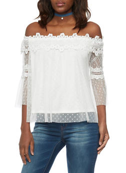 Off The Shoulder Crochet Mesh Top with 3/4 Bell Sleeves - WHITE - 1001058750410