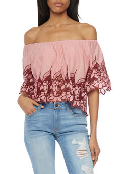 Embroidered Off The Shoulder Peasant Top - 1001058750426