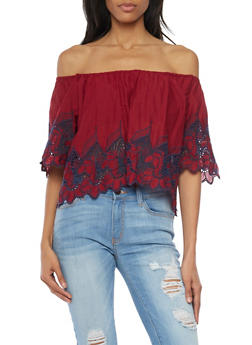 Embroidered Off The Shoulder Peasant Top - WINE/NAVY - 1001058750426