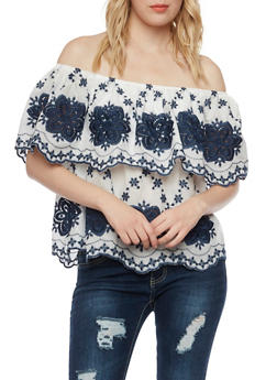 Off the Shoulder Top with Crochet Details - 1001058750429