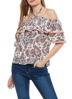 Crepe Knit Paisley Print Off the Shoulder Top - 1001058750510