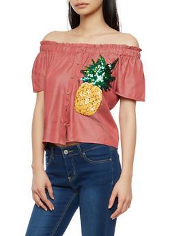 Pineapple Sequin Off the Shoulder Top - 1001058750541