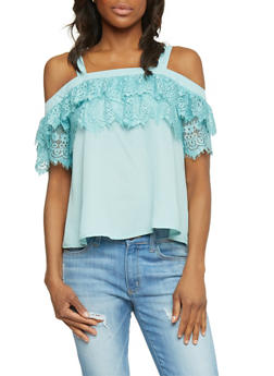 Off The Shoulder Top with Lace Sleeves - 1001058750764