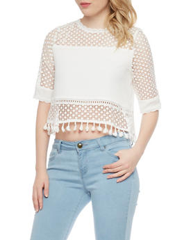Short Sleeve Diamond Cut Mesh Crop Top - 1001058750774