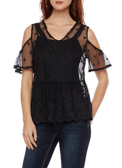 Mesh Lace Top with Cold Shoulder Cutouts - 1001058750794
