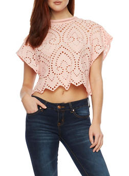 Eyelet Crop Top with Cutout Back and Tassels - 1001058750799