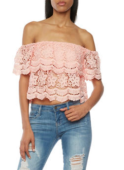 Crochet Off The Shoulder Top with Short Sleeves - BLUSH - 1001058750814